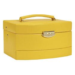 Budd Leather - Leather Large Auto Open Jewel Box, Yellow - Leather Large Auto Open Jewel Box, Yellow