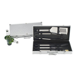 Picnic at Ascot - 5pc BBQ Set in Aluminum Case - Features: