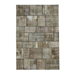 """Pre-owned Light Neutral Overdyed Turkish Patchwork Carpet - Traditional Turkish patterns from an assortment of vintage pieces mix to make this hand made, naturally distressed vintage rug. Full cotton backing and decorative blanket stitch edging.    Remnants of vintage wool on a cotton warp, made entirely by hand in the '60's through '80's when Turkish women still included weaving in their daily homemaking chores. Employing the sturdy double knot technique unique to Turkish rugs, multicolor floral and medallion motifs were created a row at a time using bright hand dyed wools. Considered too old fashioned for modern Turkish homes in their traditional incarnations, these rugs have languished in back rooms of the bazaars‰Ű_until now, as these fragments in excellent condition are overdyed and combined to create modern patchwork statements for the floor.    Note from the seller: """"Our revitalization process keeps rugs that may otherwise get tossed out of landfill. Repurposed discards are helping artisans connect and create, supporting the community we're building here in Istanbul to revive vanishing traditional fiber crafts.‰Űť    Please note that all sales are final - These amazing rugs are coming direct from Istanbul, Turkey and returns will not be allowed."""