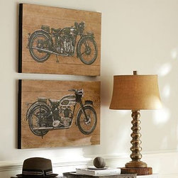 "Motorcycle Wood Wall Art, Set of 2, 18 x 30"" - Vintage motorcycles printed on wood create an unexpected yet harmonious art focus in a home office or living room. 30"" wide x 18"" high x 1.5"" thick Made of fir. Screen-printed image. Set of 2. Catalog / Internet only."
