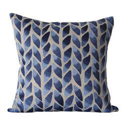 Kathy Kuo Home - Freeport Indigo Natural Leaf Hand Embroidered Square Pillow - Hand embroidered pillows in linen and silk are sumptuously oversized and generously filled with down and feathers - tossed on a bed or a gathered on a sofa, create a lasting personal touch.