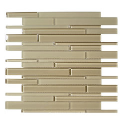 Euro Glass - Bermuda Sand Random Bricks Cream/Beige Cane Solids Glossy and Frosted Glass - Sheet size: 1 SQF.