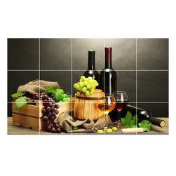 Picture-Tiles, LLC - Wine Grapes Photo Kitchen Bathroom Tile Mural  12.75 x 21.25 - * Wine Grapes Photo Kitchen Bathroom Tile Mural 1543