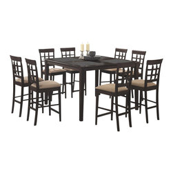 Coaster - Coaster Hyde 9 PC Counter Height Dining Set with Storage Base in Cappuccino - Coaster - Dining Sets - 100438PKG2 - Coaster Hyde 9 PC Counter Height Dining Set with Storage Base in Cappuccino