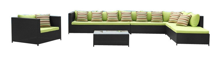 Fine Mod Imports - Garden 7PC Outdoor Sectional Set with Green Cushions - Features: