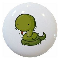 Carolina Hardware and Decor, LLC - Kid's Snake Ceramic Cabinet Drawer Knob - New 1 1/2 inch ceramic cabinet, drawer, or furniture knob with mounting hardware included. Also works great in a bathroom or on bi-fold closet doors (may require longer screws). Item can be wiped clean with a soft damp cloth. Great addition and nice finishing touch to any room!