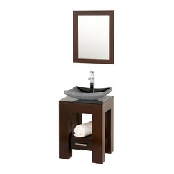 "Wyndham Collection - Wyndham Collection 22"" Amanda Espresso Single Sink Vanity w/ Smoke Glass Top - Introducing the beautiful and unique Amanda bathroom vanity. This fresh design showcases style and versatility in a slim space, with an open storage area for towels, baskets, and other toiletries, and a drawer for other accessories. It's the perfect powder room vanity. Available with a white countertop and matching sink or smoke glass countertop and matching sink. Optional Black Granite upgraded sink also available."