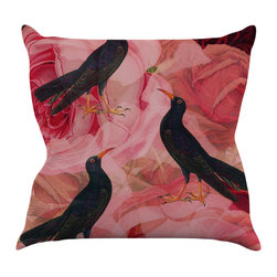 """Kess InHouse - Suzanne Carter """"Song Bird Cush"""" Red Black Throw Pillow (16"""" x 16"""") - Rest among the art you love. Transform your hang out room into a hip gallery, that's also comfortable. With this pillow you can create an environment that reflects your unique style. It's amazing what a throw pillow can do to complete a room. (Kess InHouse is not responsible for pillow fighting that may occur as the result of creative stimulation)."""
