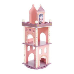 "Levels of Discovery Princess Revolving Wood Bookcase - The Princess Revolving Bookcase brings an element of fantasy to your daughter's bedroom. It features a castle motif in pink purple and cream with gold accents and it also includes the message """"The Royal Library."""" The wood bookcase revolves for easy access putting books in reach at any time. 10- and 12-inch shelves will hold all of Her Majesty's favorites. Two bookends have the messages """"Always A Princess"""" and """"Almost Always A Princess """" and they hold 4 x 6-inch photos. Dimensions: 13W x 13D x 37H inches. About Levels of DiscoveryAfter spending years as a product developer and president for companies like Enesco the Franklin Mint and Hallmark Jeff Hutsell decided to devote himself to creating innovative unique and fun furnishings made especially for children. The resulting company Levels of Discovery now strives to design pieces that are more than simply pieces of heirloom-quality furniture. Each piece features unexpected details that will surprise and delight children and parents alike. Playful themes and hidden features like music boxes picture frames or time-out timers elevate rocking chairs benches tables and other pieces into treasured works of art that will define your youngster's childhood. All these extras combine to create beautiful hand painted masterpieces that are sure to become instant family treasures."