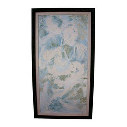 "Pre-owned Large Mid-Century Oil Painting II - One of a pair of large Mid-Century oil paintings. Image is of a woman painted in light blues and greens. Beautiful, subtle colors create a serene backdrop for any interior. This particular painting is slightly smaller than it's accompanying pair and has the artist's signature on the lower left corner. 55"" H x 29.5"" W.    Canvas is stretched on a wood stretcher and framed in the original mid century black lacquered wood frame. Wire hanger is present for easy hanging installation. Beige linen matte measures 1.75"" wide. Frame is 2"" wide. Painting is in good vintage condition with minor wear. Frame has some minor scratches and small paint loss."