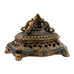 Sterling Industries - Sterling Industries Laurel Wreath Keeping Box X-6393-19 - Pierced detailing and layer after layer of acanthus leaves helps to create an ornate look to this Sterling Industries decorative box. From the Laurel Wreath Collection, this keeping box is full of details and features a beautiful and rich brown finish with aged gold accenting.
