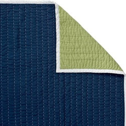 Serena & Lily - Navy/Clover Cabin Quilt - The best of the basics, this all-cotton quilt is the perfect layer for warmer weather. The colors are great, and the running contrast stitch adds just the right amount of texture. Navy on one side, clover on the reverse, with white binding and contrast stitch.