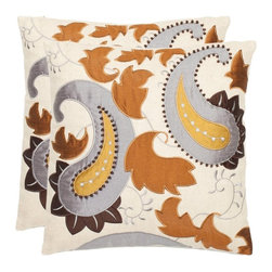 Safavieh - Safavieh Mayfair 18 In. Cream Decorative Pillows - Set of 2 - PIL809A-1818-SET2 - Shop for Pillows from Hayneedle.com! Tastefully decorate your living space with the Safavieh Mayfair 18 in. Cream Decorative Pillows - Set of 2. Each pillow features an eye-catching motif of paisley prints leaves and intricate beadwork. This gorgeous depiction is accented by metallic earth tones of platinum bronze gold and penny brown. Besides good looks these pillows are covered in cotton-linen blend fabric for comfort. In addition a polyester filling makes this set hypoallergenic. Dry cleaning these pillows is recommended.Please note this product does not ship to Pennsylvania.