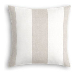 Pale Gray Linen Awning Stripe Custom Throw Pillow - The every-style accent pillow: this Simple Throw Pillow works in any space.  Perfectly cut to be extra fluffy, you'll not only love admiring it from afar but snuggling up to it too! We love it in this gray and white awning stripe in luxurious pure linen for an elegant, breezy addition to any classic home.