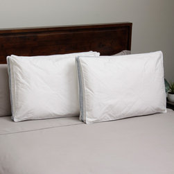 Hotel Madison - Hotel Madison 300 Thread Count Twill Quilted Down Alternative Pillow (Set of 2) - This Hotel Madison extra stuffed, gusseted pillow features 300 thread count cotton fabric quilted with polyester for extra fullness and loft. The pillow has a 2-inch gusset and combined with the quilting is similar to having two pillows stacked together.