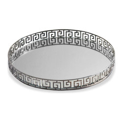 Kathy Kuo Home - Meandros Contemporary Iron and Mirror Round Serving Tray - The Meandros Round Tray brings an attractive serving solution into the home.  Flaunting an iron form with a polished nickel and mirror finish, this tray is sturdy, sanitary, stylish and is sure to last through years of home entertaining.  Whether used to serve drinks, hors d'oeuvres or snacks, you're sure to make a lasting impression on guests and add a durable addition to your contemporary home arsenal with the Meandros Round Tray.