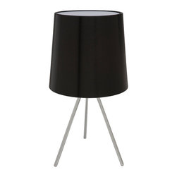 Nuevo Living - Luc Table Lamp, Black - Why not light up your workspace in style? The brushed aluminum base of this three-legged lamp looks chic on any modern table while giving you just enough light to get the job done. Now all you need to do is pick a shade color.