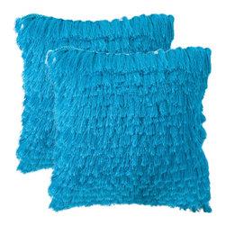 Safavieh - Cali Shag Accent Pillow  - 18x18 - Blue - Cali Shag Accent Pillow  - 18x18 - Blue