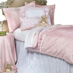Glenna Jean - Anastasia French Pink Velvet with White Crinkle Header Children's Duvet Twin - The Anastasia French Pink Velvet with White Crinkle Header Children's Duvet by Glenna Jean will look great in any child's room.