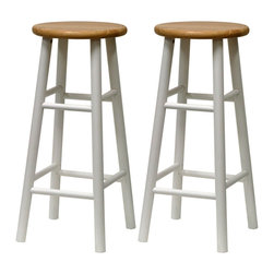 Winsome Wood - Winsome Wood Set of 2 - Beveled Seat - 30 Inch Stool in Natural & White - Solid wood construction bar stool. All assembled. White frame with Natural seat. Bevel seat provides comfort seating Barstool (2)