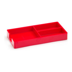 Poppin - Bits and Bobs Tray, Red - When it comes to clutter, little things mean a lot. Get them squared away in high style with this three-compartment organizing tray for your desk, vanity or drawer. It measures 9 by 6 3/4 by 3 1/4 inches, is finished in your choice of eye-popping colors in a lacquer-like finish and coordinates with other accessories in the same line.