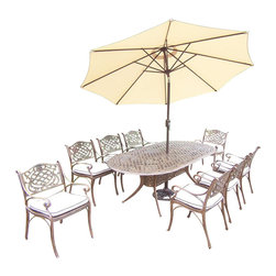 Oakland Living - 11-Pc Outdoor Oval Dining Set - Includes one dining table, 9 in. tilt crank umbrella with stand, eight cushioned chairs and metal hardware. Fade, chip and crack resistant. Traditional lattice pattern and scroll work. Handcasted. Umbrella hole table top. Hardened powder coat. Warranty: One year limited. Made from rust free cast aluminum. Antique bronze finish. Minimal assembly required. Chair: 21.5 in. W x 23 in. D x 34 in. H (27 lbs.). Table: 84 in. L x 42 in. W x 29 in. H (99 lbs.). Overall weight: 359 lbs.This dining set is the prefect piece for any outdoor dinner setting. Just the right size for any backyard or patio. We recommend that the products be covered to protect them when not in use. To preserve the beauty and finish of the metal products, we recommend applying an epoxy clear coat once a year. However, because of the nature of iron it will eventually rust when exposed to the elements. The Oakland Mississippi Collection combines southern style and modern designs giving you a rich addition to any outdoor setting.