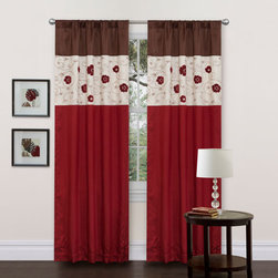 Lush Decor - Royal Embrace Red Window Curtain - Reversible, One Panel - - This is a panel that your ?inner Duke or Duchess? can?t ignore. The embroidered flowers are created from terry cloth which gives them a unique texture that looks real. The 3 shades of faux silk are the perfect base colors to complement the floral design. The rod pocket on top and bottom of the panel allow you to hang this panel either way, and the lining gives you some additional privacy and insulation.  - Size - 84x42  - Includes: 1 Window Panel  - Top Pocket - Rod Pocket  - Non-Weighted  - Additional Hardware Necessary - Rod  - Panel: 42W x 84D  - Fabric Content:100% Polyester  - Care Instructions: Comforter/bed skirt/shams: dry clean * Pillows: spot clean  Lush Decor - C01301Q12