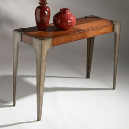 Designer's Edge Console Entry Table - Constructed from selected solid woods and choice veneers, this designer rustic console table includes maple veneer top, front, side and rear aprons, and sleek finished metal legs.
