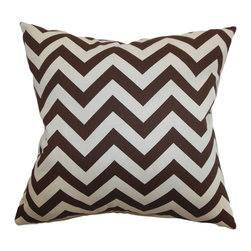 """The Pillow Collection - Xayabury Zigzag Pillow Village Brown Natura 20"""" x 20"""" - This zigzag throw pillow lends a playful twist to your interior. This striking accent pillow features a contemporary graphic print pattern in brown and natural hues. This modern accent transforms your living room or bedroom with its stylish design. This decor pillow measures around 20"""" which is ideal for your sofa, sectionals or bed. This square pillow is made with 100% soft cotton material. Hidden zipper closure for easy cover removal.  Knife edge finish on all four sides.  Reversible pillow with the same fabric on the back side.  Spot cleaning suggested."""