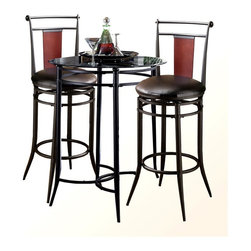 Hillsdale - Mix-N-Match 3 Pc Set Glass Top Bistro Table w - Banded metal accents enhance the design of this three-piece bistro set, featuring a glass topped table with a black finished metal base and two matching stools with upholstered cushion seats and wood back accents for added visual interest. The set would be a perfect accent on an enclosed porch, and will be a contemporary and versatile addition to any decor. For residential use. Includes table and 2 Midtown stools. Stools swivel 360 degrees. Bistro set is both contemporary and versatile. Black metal with a glass top. Contemporary and versatile. Table base: 40.5 in. H. Table glass: 34 in. Dia.. Stool: 20.5 in. W x 20.5 in. D x 44.5 in. H. Seat height: 30 in. H