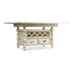 """Hooker Furniture - Beaufort House Adjustable Height Dining Table - Light - White glove, in-home delivery included!  The Beaufort House collection is crafted from rubberwood and poplar solids with maple veneers.  It is the perfect amount of style, grace and comfort.  One 20"""" leaf extends table to 80"""" long.  Two removable wicker storage baskets, removable wine rack storage (holds a total of 16 bottles, 8 on each side), two pass through drawers.  Baskets can only be used under table when table is set at bar or counter height.  Counter height: 36"""" h  Bar height: 42"""" h"""