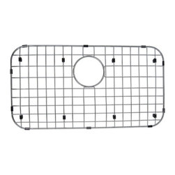 "Kingston Brass - Stainless Steel Grid for GKUS3018 & KU311810BN - To prevent damage from your sink, this stainless steel grid from Kingston Brass safeguards any harm caused from overflowing kitchen appliances (pots and pans). The grid consists of a long platform with horizontal and vertical bars and slots to allow dishes and bowls to be placed rather than the surface of the sink where scratches can form. A circular gap is also designed to allow easy access to the drain before washing your kitchen appliances.; Bottom grid is constructed from premium 304 grade stainless steel; Durable PE material protective bumpers and feet included to protect sink against scratches from daily use; Sink bowl must be completely exposed for grid to better fit; One year warranty; designed with opening for sink strainer; Overall Dimension: (L)25-1/4""X(W)13-1/2""x(H)3/4""; Material: Stainless steel; Finish: Chrome; Collection: Loft"