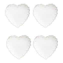 Berry and Thread Heart Cocktail Plates, Whitewash, Set of 4 - The sweet shape of the Berry and Thread Heart Set of 4 Cocktail Plates are ideal for presenting a collection of sweet confections to your cherished guests. A gentle motif of berries and thread lines the outer edge of the heart shape, while the soft white color imparts a chic sophistication that is most welcome at seasonal celebrations as well as personal events such as a wedding shower.