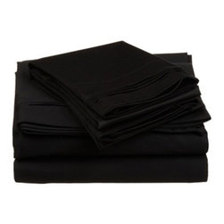 "650 Thread Count Egyptian Cotton Cal. King Black Solid Sheet Set - Our 650 Thread Count Sheet Set offers high thread count durability with premium softness. They are composed of long-staple cotton and have a ""Sateen"" finish as they are woven to display a lustrous sheen that resembles satin. Set includes One Flat 110x104, One Fitted 74x84, and Two Pillowcases 21x42 each."