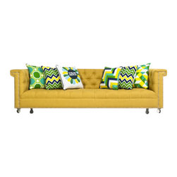 "Sinatra Sofa in Yellow Textured Linen - Frank's dulcet tones are ever present in this beautiful sofa. Bring the classic crooner to your living room for unmatched style and comfort. Finished in yellow textured linen with Chrome Nail Heads and our 4"" lucite turned legs."