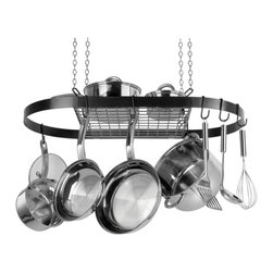 Range Kleen - Oval Hanging Pot Rack - Hanging pot rack. Made from metal. Oval pot rack. 33 in. W x 17 in. D x 1.5 in. H. Includes complete hardware for easy installation. Cookware not included. Works great over stove tops or islands. Cookware is easily accessible when needed. Holds up to 40 lbs.. Five year limited household warrantyThis attractive black enamel coated metal pot rack hangs from the ceiling with an upper shelf and reposition-able hooks to stylishly maximize your space. As seen in designer home magazines! Hanging pots and utensils are better organized and easier to access – no more digging through the back of your cupboard. Just think of how useful all of that extra cupboard space will be.