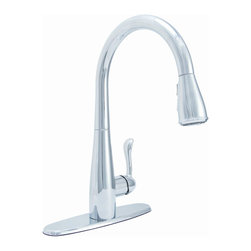 Premier Faucet - Premier Sanibel Chrome Single Handle Kitchen Faucet with Pull Out Spray - Premier Sanibel Lead-Free Single-Handle Pull-Down Kitchen Faucet in Polished Chrome