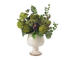 Nearly Natural - Artichoke and Hydrangea Silk Flower Arrangement - No one could say that you don't have a flair for the unique and the creative when you surprise them with this lovely Artichoke and Hydrangea arrangement.  These two plants merge quite well to complement each other in a spectacular blend of color and form.  The ease of care and ability to fit into any type of decor helps to enhance its tasty appearance.