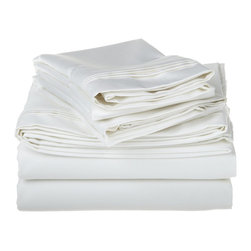 1500 Thread Count Egyptian Cotton Queen White Solid Sheet Set - 1500 Thread Count oversized Queen White Solid Sheet Set 100% Egyptian Cotton