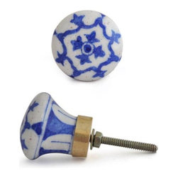 "Knobco - Floral Designs Knob, Blue and White - Blue and White design knob from Jaipur, India. Unique, hand painted cabinet knobs for your kitchen    cabinets. 1.5"" in diameter. Includes screws for installation."