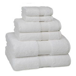 Kassatex - Kassatex Elegance Collection 6 pc. Set, White - Wrap your body in the plush comfort of this elegant European towel, made from world's finest Combed Egyptian Cotton. Both the bath and wash towels contain a convenient hanger loop. Machine wash warm. Tumble dry low. Do not bleach.