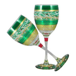 Christmas  Garland Wine Glasses  Set of 2 - This lovely hand painted wine glass is from our Mosaic collection and inspired by the colorful tiles of the Alhambra.  Something to be handed down from generation to generation.  Proudly hand painted in the USA.