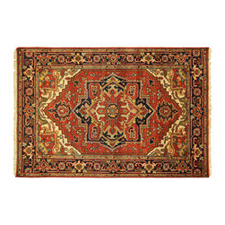 Manhattan Rugs - New HQ Rose Red Heriz Hand Knotted Wool 4x6 Serapi Free-Pad Floral Art Rug H5849 - Heriz is situated in the northwestern part of Iran (Persia).  Though the term covers Hand knotted rugs of numerous small villages in the area, the most beautiful Rugs were woven in Heriz itself For the last 100 years, the Heriz carpet designs have basically remained the same, with only small variations in color pallets and density of the design. The late 19th Century Rug (so called Serapis) was of fewer details and softer colors and with time designs became denser with added jewel tone color pallets. The revival of the carpet industry in the late 19th Century was based on the demand of the Western markets, with America in particular. Weavers in Heriz hand knotted were asked to make carpets inspired by the Fereghan Sarouks of higher cost for consumers of more limited budgets. Even though Sarouk carpets changed style later on, Heriz weavers stayed with the geometric pattern till now.  However, Heriz was also a center of production of some of the best handmade carpets with both geometric and curvilinear floral patterns.  A special heirloom wash produces the subtle color variations that give rugs their distinctive antique look.