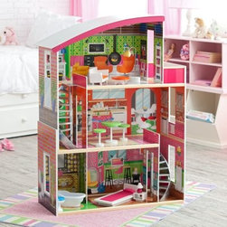 KidKraft Designer Dollhouse - If only we could make this dollhouse adult sized! The KidKraft Designer Dollhouse looks like something right out of Metropolitan Home magazine but lots more fun. Constructed of sturdy wood this dollhouse features modern curves and a super sleek design. It even has a curved staircase! Large enough for several kids to play with fashion dolls 11.5 inches tall the house has three open stories full of interesting rooms to ignite all sorts of imaginative scenarios. Eleven pieces of furniture are included. Colorful engaging and delightful ... just like the special kid who deserves this dollhouse. Order now and watch her face - and her imagination - light up. About KidKraftKidKraft is a leading creator manufacturer and distributor of children's furniture toy gift and room accessory items. KidKraft's headquarters in Dallas Texas serves as the nerve center for the company's design operations and distribution networks. With the company mission emphasizing quality design dependability and competitive pricing KidKraft has consistently experienced double-digit growth. It's a name parents can trust for high-quality safe innovative children's toys and furniture.