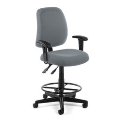 OFM - OFM Posture Task Chair with Arms and Drafting Kit in Gray - OFM - Office Chairs - 1182AADK801 - You'll always have great posture with OFM's 118-2 Posture Series Task Stool with Arms. This task stool features built-in lumbar support 7-position adjustable arms plus adjustable back depth and height pitch and gas-lift seat height adjustment. High-quality fabric is rated to exceed 150000 double rubs and the seat back is fully upholstered. The wheeled 5-star base adds stability and includes adjustable foot ring. Weight capacity up to 250 lbs.