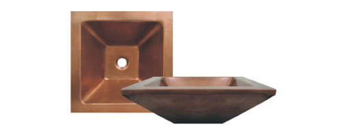 Whitehaus Collection - Smooth Bronze Whitehaus WHDWSQ17 Single Bowl Copper Above Mount Square Bath Sink - Make a statement and add a tinge of color to your bathroom ? say, copper. The Whitehaus above-mount square sink basin instantly creates that rustic look that you need to complement your tidy bathroom, or completes that Zen environment you were aiming for in your private room. Sink basins usually match well with wall-mount faucets.