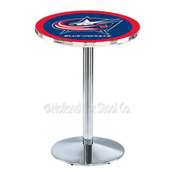 Holland Bar Stool - Holland Bar Stool L214 - Chrome Columbus Blue Jackets Pub Table - L214 - Chrome Columbus Blue Jackets Pub Table  belongs to NHL Collection by Holland Bar Stool Made for the ultimate sports fan, impress your buddies with this knockout from Holland Bar Stool. This L214 Columbus Blue Jackets table with round base provides a commercial quality piece to for your Man Cave. You can't find a higher quality logo table on the market. The plating grade steel used to build the frame ensures it will withstand the abuse of the rowdiest of friends for years to come. The structure is triple chrome plated to ensure a rich, sleek, long lasting finish. If you're finishing your bar or game room, do it right with a table from Holland Bar Stool.  Pub Table (1)
