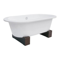 "Schon - Schon Contemporary Leg 66 Inch Cast Iron Freestanding Tub - 382577 - Shop for Tubs from Hayneedle.com! With its uncomplicated form and pure clean lines the Schon Contemporary Leg 66 Inch Cast Iron Freestanding Tub harmonizes perfectly with your modern decor. The white cast iron tub sits on sturdy walnut blocks instead of old-fashioned claw feet for a novel take on a classic concept. The slip-resistant surface and double rounded ends ensure a safe and comfortable bathing experience. There are no faucet holes to sully this modern tub's pristine bowl so have fun picking out a freestanding faucet (not included) to complete the set. A chrome leg tub drain is included.Additional Notes:Be sure to carefully measure your space before purchasing this tub!We recommend this tub be installed by a professional plumber or contractor.Faucet sold separatelyTips to Take Before Taking it Easy in Your Clawfoot or Freestanding TubWe know you're excited to transform your bathroom from dull to indulgent with the addition of a clawfoot tub or a freestanding tub but please consider this important information before taking on your tub. We recommend having a professional plumber install your tub.Make sure your floor can support the weight of the tub whether the tub's empty or full.Measure the doorway you'll take the tub through to get inside your house and measure your stairwell and your bathroom doorway too to make sure the tub will fit. Remember that some tub feet are not removable.Get prepared with the right parts. You'll need some essentials to enjoy a proper clawfoot or freestanding tub experience. Keep in mind that parts such as the faucet drain supply lines hand-held shower head shower curtain and shut-off valves are sold separately.While you can use universal parts for some tubs you'll find that others require parts that are the same brand as the tub. All of your necessary tub parts are available for purchase here at ClawfootTubs.com.Have your plumber ensure that your tub is level. To prevent the tub from moving and to protect your floor try placing coasters underneath the tub feet.After the tub is installed see that your plumber turns the water on and makes sure everything works and drains properly.Now don't forget the bubbles!About Your ""other"" WarehouseFor over 20 years Your ""other"" Warehouse (YOW) has been amassing a collection of products to address the needs of kitchen and bath dealers and showrooms. As the country's premier master distributor of these products YOW stocks over 500 000 decorative faucets fixtures and accessories. Today the company offers top brands from three strategically placed distribution centers in Louisiana Nevada and Maryland. For unique designs inspired by travels around the globe look to World Imports a member of the YOW distribution family. With YOW you'll find the industry's best selection and receive stellar customer service from knowledgeable professionals."