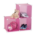 3-Pack Storage Cubes- Pink - 14x14 3- cube; overall size: 35.5x71x71cm; 13pcs pp board; steel frame, zinc plated; 16 pcs abs connectors