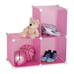 """3-Pack Storage Cubes- Pink - Honey-Can-Do SFT-02166 3-Set Modular Storage Cubes 14"""", Translucent Pink.  The customizable unit features three 14-inch cubes that can be set up in a variety of ways-one next to two stacked, three set horizontally, or three stacked vertically. Great for getting kids and teens organized; whether it's in a bedroom, play room, or dorm this durable storage system keeps books, toys, and clothing neat and orderly. Works well on the floor or as a closet shelf organizer. Translucent plastic panels incorporate a steel frame covered in heavy-duty zinc and are assembled together using white plastic connectors. The unit cleans up easily with a damp cloth as needed. Combine multiple sets for even more storage capacity."""